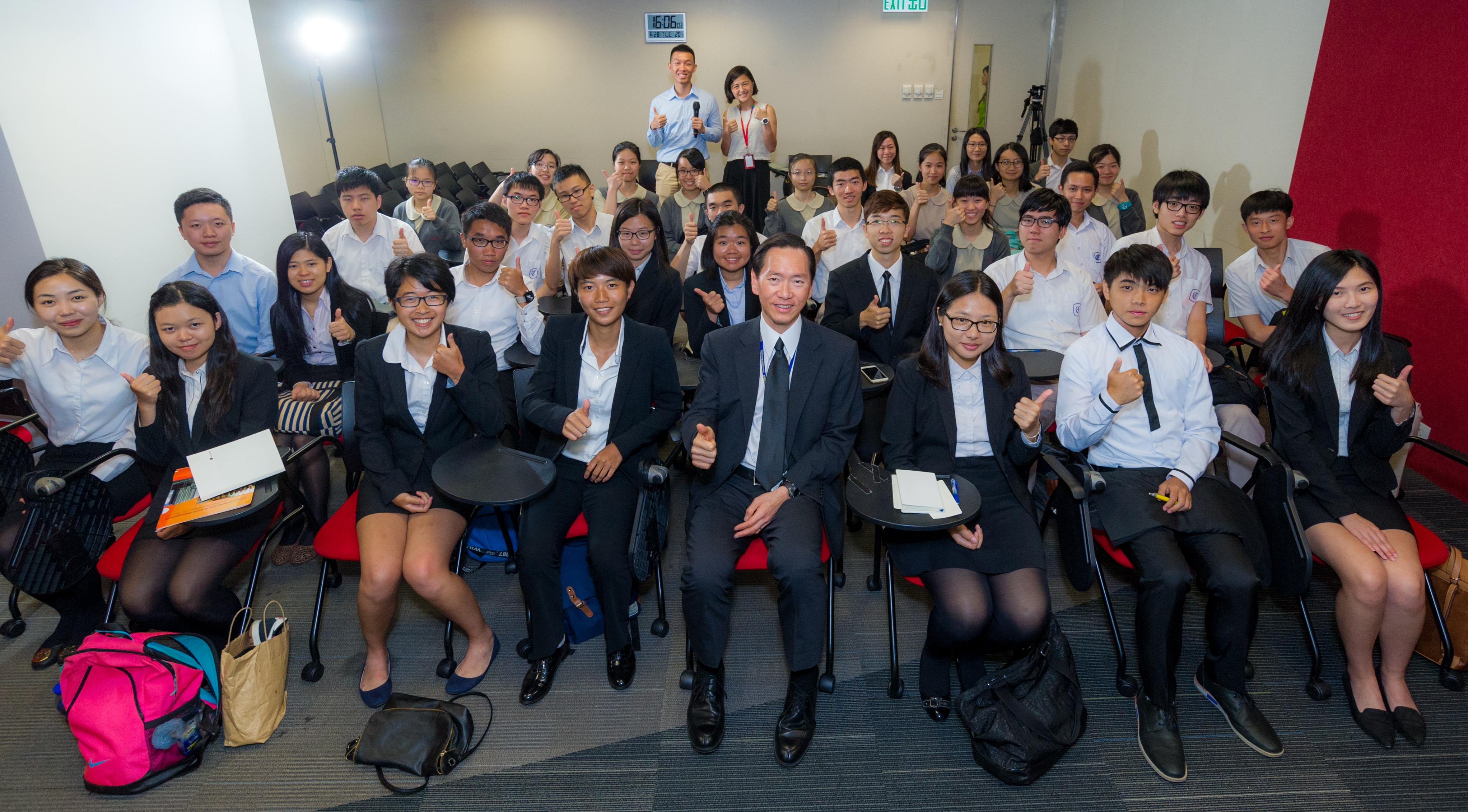 "Participating students learnt a lot at the ""Star Speakers Forum"", where the speaker was the Honourable Bernard Chan, member of the Executive Council."