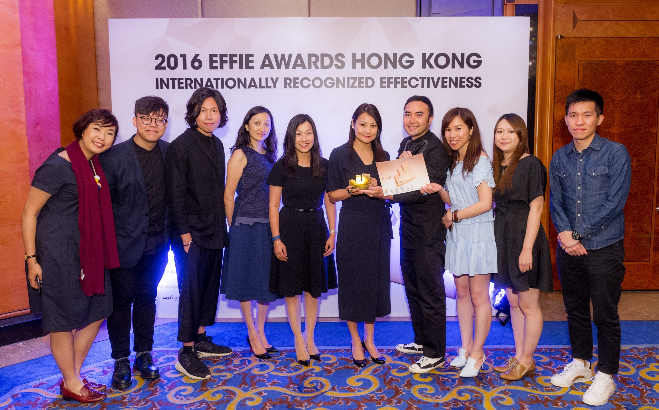 The AIA and Uth Creative team wins the highest score in the banking and financial services / insurance category at the Effie Awards 2016.